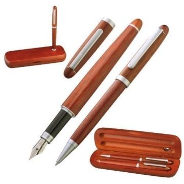 Holz-Schreibset bestehend aus Kugelschreiber und Füllfederhalter