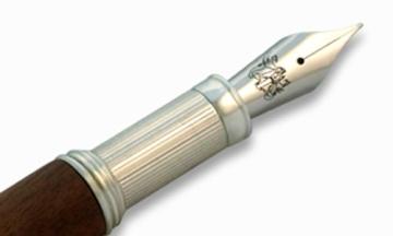Füllfederhalter aus massivem Sterling Silber 925 & Nußholz Federbreite M - 3