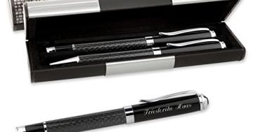 LOGIC ETUI MIT SCHREIBSET CARBON 2-teilig Kugelschreiber und Füller mit Gravur