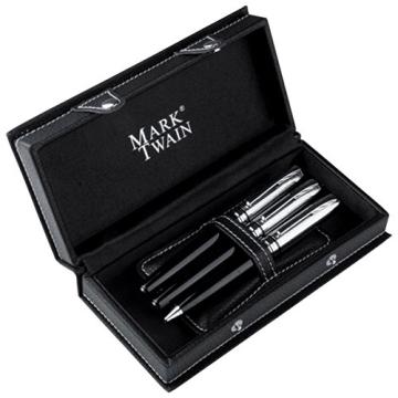 Mark Twain - 3-teiliges Metall-Schreibset mit Füllfederhalter inkl. Konverter (auffüllbare Patrone), Kugelschreiber und Rollerball - 2
