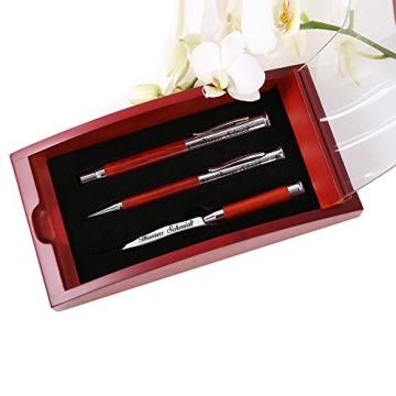 Schreibset Borkum - Braun inkl. Wunschgravur mit Geschenkbox aus Holz / Glas - 2