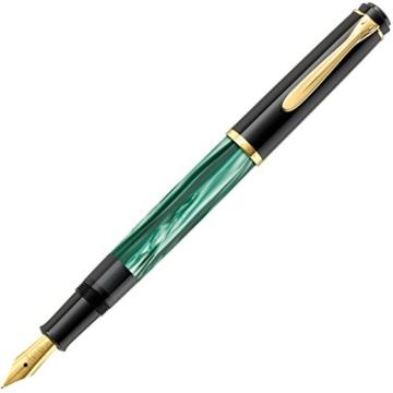 Pelikan 983395 Kolbenfüllhalter Classic M200, vergoldete Edelstahlfeder, F, grün-marmoriert - 3