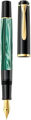 Pelikan 983395 Kolbenfüllhalter Classic M200, vergoldete Edelstahlfeder, F, grün-marmoriert - 4