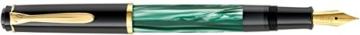 Pelikan 983395 Kolbenfüllhalter Classic M200, vergoldete Edelstahlfeder, F, grün-marmoriert - 1