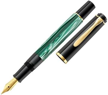 Pelikan 983395 Kolbenfüllhalter Classic M200, vergoldete Edelstahlfeder, F, grün-marmoriert - 5