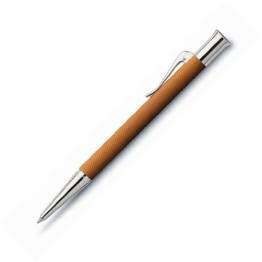 Graf von Faber-Castell Drehkugelschreiber Guilloche Ganzmetall Ausführung Stift, Edelharz, rhodiniert, rund, cognac/braun - 1