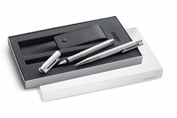 Lamy 1230491 Set Füllfederhalter mit Kugelschreiber und Lederetui und Geschenkverpackung M 006/206 brushed, silber - 2