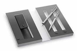 Lamy 1230491 Set Füllfederhalter mit Kugelschreiber und Lederetui und Geschenkverpackung M 006/206 brushed, silber - 1